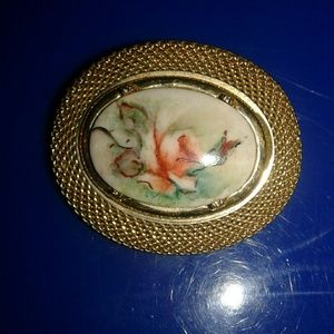 Antique Brooch Lapel Pin Gold Floral design Unique